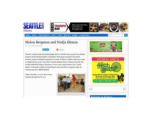 Bild med länk till artikel i Seattle Weekly News http://archive.seattleweekly.com/2010-06-09/calendar/malou-bergman-and-nadja-ekman/
