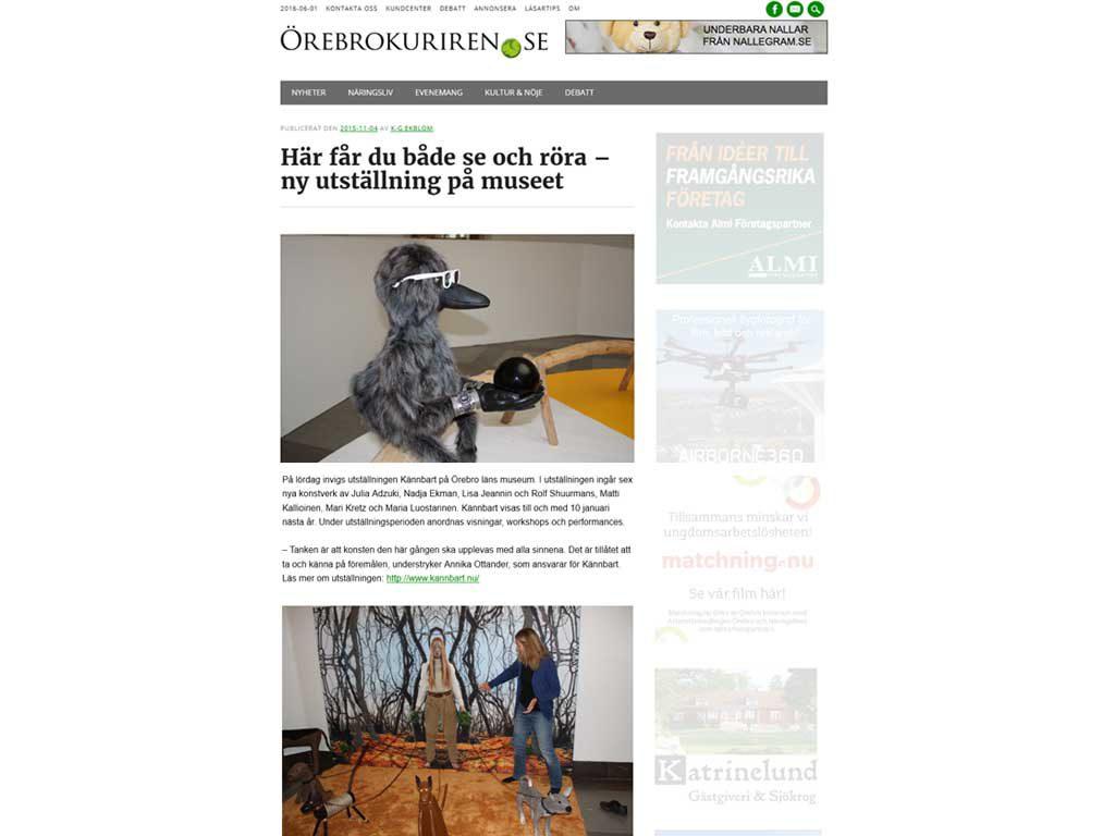 Bild med länk till artikel i Örebrokuriren