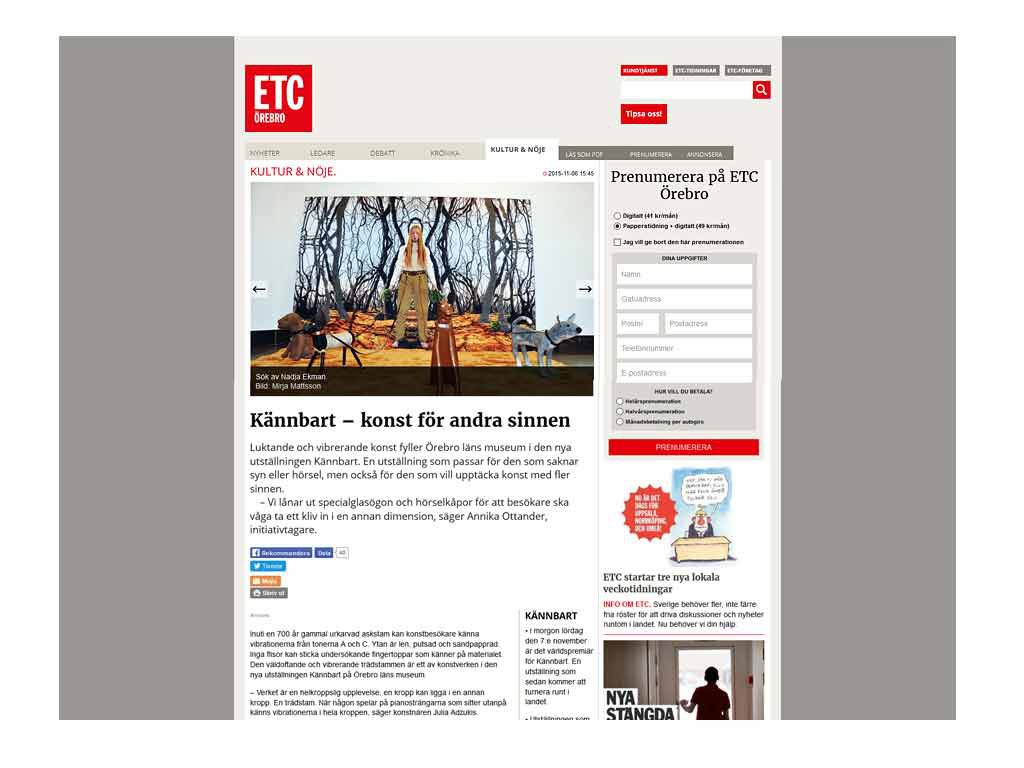 Bild med länk till artikel i ETC Örebro