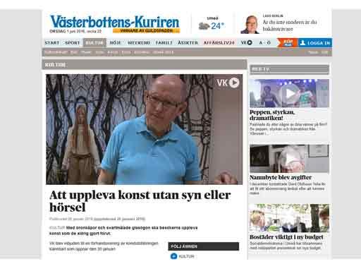 Bild med länk till artikel i Västerbottenskuriren